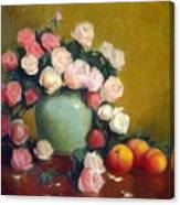 Celadon Vase With Roses And Nectarines Canvas Print