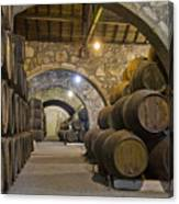 Cellar With Wine Barrels Canvas Print
