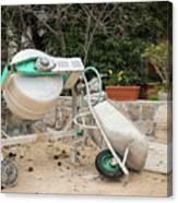Cement Mixer And A Wheelbarrow In Croatia Canvas Print