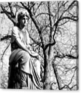 Cemetary Statue B-w Canvas Print
