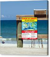Central Florida Beach Warning Canvas Print