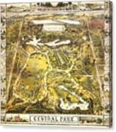Central Park Map, Manhattan New York, 1863 Canvas Print
