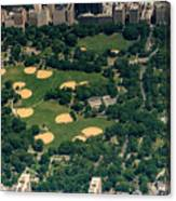 Central Park North Meadow In New York City Aerial View Canvas Print
