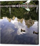 Central Park Pond With Two Ducks Canvas Print