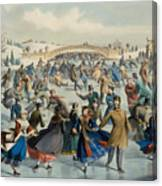 Central Park, Winter The Skating Pond, 1862 Canvas Print