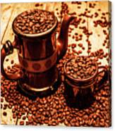 Ceramic Coffee Pot And Mug Overflowing With Beans Canvas Print