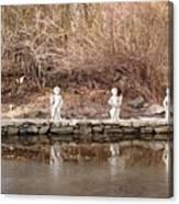 Cerubs On Icy Pond Canvas Print