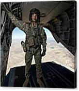 Ch-47 Chinook Crew Chief Stands Canvas Print