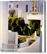 Chair On Balcony In Mykonos Canvas Print