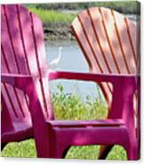 Chairs And Egret Canvas Print