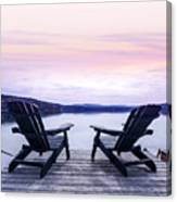 Chairs On Lake Dock Canvas Print
