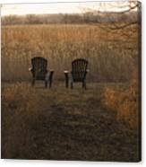 Chairs Overlook A Scenic Pasture Canvas Print