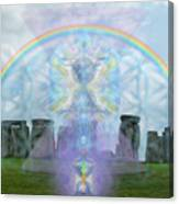 Chalice Over Stonehenge In Flower Of Life And Man Canvas Print