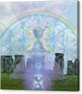 Chalice Over Stonehenge In Flower Of Life Canvas Print