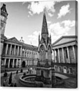 chamberlain memorial in chamberlain square with Birmingham museum and art gallery and town hall UK Canvas Print