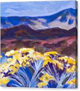 Chamisa And Mountains Of Santa Fe Canvas Print