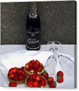 Champagne Bottle With Strawberry Tarts And 2 Glasses Canvas Print