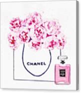 Chanel Bag With Pink Peonys Canvas Print