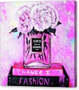 Chanel Perfume With Peony Canvas Print