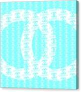 Chanel Logo Blue Teal White Canvas Print