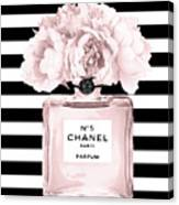 Chanel N.5, Black And White Stripes Canvas Print