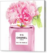 Chanel N5 Pink With Flowers Canvas Print