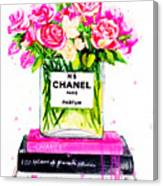 Chanel Nr 5 Flowers With  Perfume Canvas Print