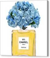 Chanel Perfume Nr 5 With Blue Hydragenias  Canvas Print