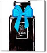 Chanel Perfume With Blue Ribble Canvas Print