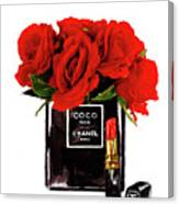 Chanel Perfume With Red Roses Canvas Print