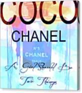 Chanel Watercolor Quote Canvas Print