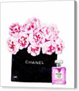 Chanel With Flowers Canvas Print