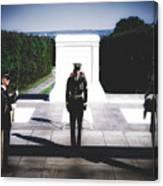 Changing Of The Guard At The Tomb Of The Unknowns At Arlington Canvas Print