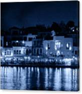 Chania By Night In Blue Canvas Print