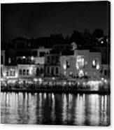 Chania By Night In Bw Canvas Print