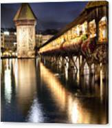 Chapel Bridge At Night In Lucerne Canvas Print