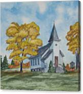 Chapel In Fall Canvas Print