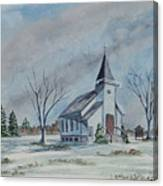 Chapel In Winter Canvas Print