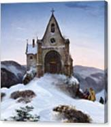 Chapel On A Mountain In Winter Canvas Print