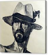 Charcoal Portrait Of A Man Wearing A Summer Hat Canvas Print