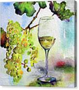 Chardonnay Wine Glass And Grapes Canvas Print