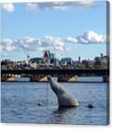 Charles River Boston Ma Crossing The Charles Citgo Sign Mass Ave Bridge Canvas Print