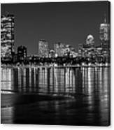 Charles River Boston Ma Prudential Lit Up Not Done New England Patriots Black And White Canvas Print