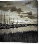 Charleston Marina Sunset In Sepia Canvas Print