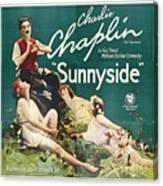 Charlie Chaplin In Sunnyside 1919 Canvas Print
