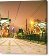 Charlotte City Skyline Night Scene With Light Rail System Lynx T Canvas Print