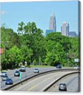Charlotte Skyline From A Distance Canvas Print