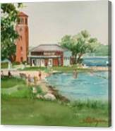 Chautauqua Bell Tower And Beach Canvas Print