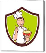 Chef Cook Bowl Pointing Crest Cartoon Canvas Print