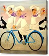 Chefs On A Bike Canvas Print